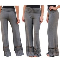 Solid Color Casual Pants with Lace Details