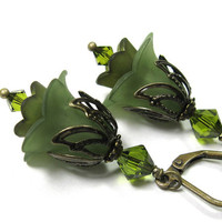 Olivine Flower Earrings, Olive Green, Gifts for Gardeners, Green, Vintage Style Jewelry, Floral Jewelry, Swarovski Crystals, Lucite Flowers