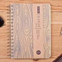 2014 Weekly Planner Calendar Diary Day Spiral A5 Wood Rustic This Day Planner - Great Valentine's Day Gift Idea for him