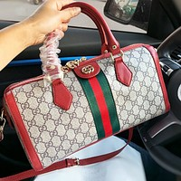 GUCCI Fashion Women Shopping Bag Leather Stripe Handbag Tote Shoulder Bag Crossbody Satchel