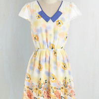 Pastel Mid-length Cap Sleeves A-line You Spring Me Joy Dress by ModCloth