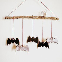 Spooky Stoneware Bat Wind Chimes or Mobile, Made to Order
