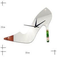 3D Women High Heel Shoe Mirror Wall CLock