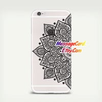 Black Mandala Clear Phone Case for iPhone 6 6s plus 6 6s 5s 5 4s 4 , Ctystal Clear iPhone 6 6s Case , Custom Clear iPhone 6 6s Case