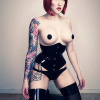 JUSTINE Fully Boned Latex Rubber Corset