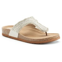Candie's Women's Beaded Footbed Thong Sandals (Grey)