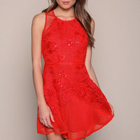 RED SPARKLY NETTED FIT AND FLARE DRESS