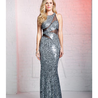 LM by Mignon HY1214 Black & White Sequin Illusion Cut Out Dress 2015 Prom Dresses