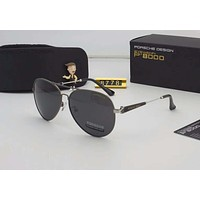 Porsche Couples with color film polarizing sunglasses Black Silver I-A-SDYJ