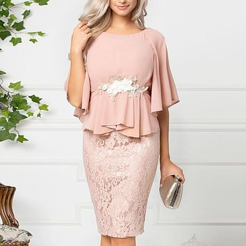 Women's Elegant Bell Sleeve Chiffon And Lace Special Occasion Dress
