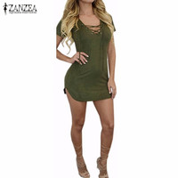 Vestidos 2016 Women Summer Hot Sexy Short Sleeve Bandage Bodycon Mini Dress Ladies Casual V Neck Asymmetrical Hem Slim Dress