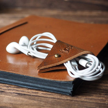 Leather Cord Holder #Brown