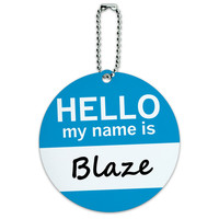 Blaze Hello My Name Is Round ID Card Luggage Tag