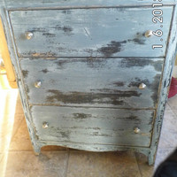 Vintage Heavily Distressed Three-Drawer Dresser