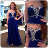 Sweetheart Royal Blue Beaded Prom Dresses