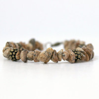 Rustic Antique Gold and Brown Picture Jasper Beaded Chip Bracelet - Handmade Southwestern Earthy Fashion Jewelry - Ready to Ship
