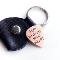 guitar pick leather keychain - copper guitar pick - mens gift - stocking stuffer, gift for musician