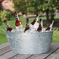 Embossed Design Oval Shape Galvanized Steel Tub with Side Handles, Small, Silver By Casagear Home