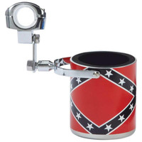 Diamond Plate Stainless Steel Rebel Flag Motorcycle Cup Holder