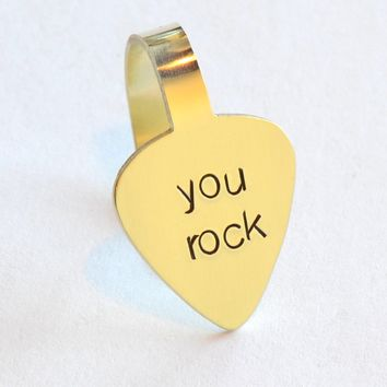Thumb Pick Handstamped with You Rock in Brass – Custom Thumb and Finger Style Guitar Picks