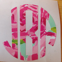 Lilly Pulitzer Inspired Circle Monogram Decal
