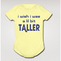 BIT TALLER wish funny baby one piece Onesuit bodysuit clothing clothes boy girl soft shower gift One-PIECE Lemon Yellow 18 Month 100807