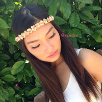 Small Beige Flower Headband, Flower Crown, Bohemian, Coachella