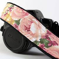 Vintage Roses dSLR Camera Strap, Pink and Gold Roses, SLR, 41