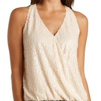 Sequin Wrap Halter Top by Charlotte Russe