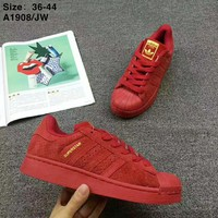 """""""Adidas"""" Superstar Women Men Multicolor Shell-toe Flats Sneakers Sport Shoes Red I-CSXY"""