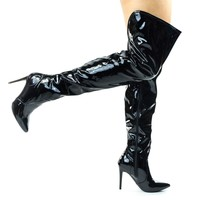 Dedicate13 Black By Anne Michelle, Thigh High / Over Knee High Heel Dress Boot In Solid Or Lace