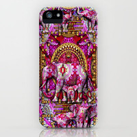 Pink Elephants Indian Style iPhone Case by Desirée Glanville | Society6