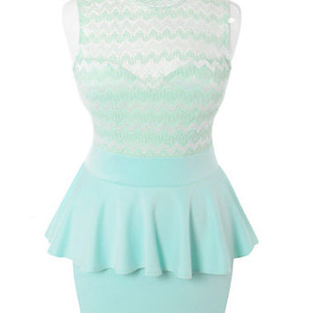 Plus Size See Through Peplum Sleeveless Mint Dress, Plus Size Clothing, Club Wear, Dresses, Tops, Sexy Trendy Plus Size Women Clothes