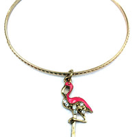 Flamingo Charm Bracelet - Alex and Ani Inspired - Gold Jewelry - Stacking Bangles