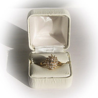Ladies CZ Diamond Simulant Gold Plated Cluster Ring