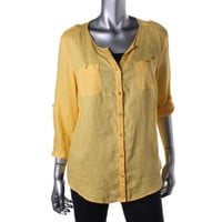 JM Collection Womens Linen Adjustable Sleeves Blouse
