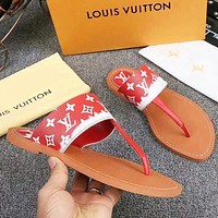 LV New fashion monogram print shoes slippers flip flop women Red