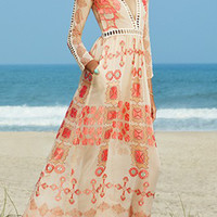 Bohemia Print Deep V Lace-Paneled Maxi Chiffon Dress