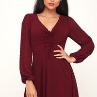 Wine and Dine Burgundy Swiss Dot Long Sleeve Skater Dress