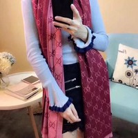DCCKHV3 Gucci Fashion Women Easy to match Cotton Scarf Two Sides