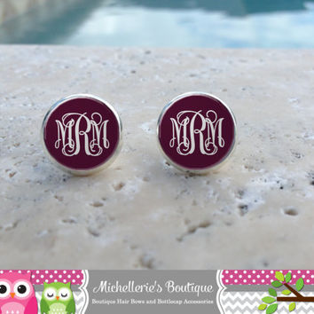 Plum Monogram Earrings, Monogram Jewelry, Monogram Accessories, Monogram Studs, Monogram Leverback, Monogram Gifts