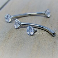 """14g Titanium curved nipple piercing barbell set 5/8"""" length 4mm clear prong set gemstone threaded ends anodized"""