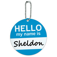 Sheldon Hello My Name Is Round ID Card Luggage Tag