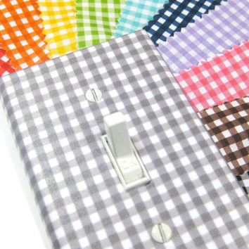 Gray Gingham Light Switch Cover Nursery Decor - Other Colors: Red Orange Yellow Blue Green Pink Purple Navy Blue Black