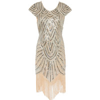 Shining 1920's Style Flapper Dress Vintage Great Gatsby Charleston Sequin Tassel Party Costume Size S-XL