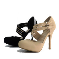 NUDE HEEL WITH MULTI STRAPS & GOLD DETAIL