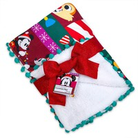 Disney Chear Santa Mickey Mouse and Friends Holiday Fleece Throw New with Tags
