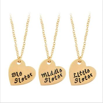 Fashion Three pieces of bigmidlit Sis sisters love girlfriends set of chains always good sister family necklace gift to daughter