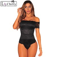 La Chilly Body Suits for Women Overalls Combinaison Short Femme Black Lace Off Shoulder Bodysuit Sexy Macacao Menina LC32072