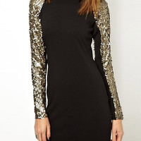 Sequin Embellished Sleeves Mini Dress in Black